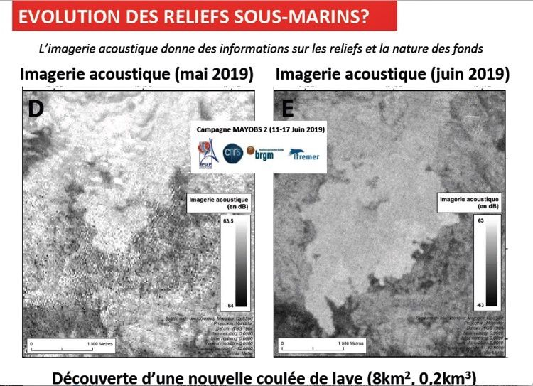 Mayotte - Acoustic imagery of the new lava flow between May and June 2019 / Operation Mayobs 2 - Doc. via Journal of Mayotte