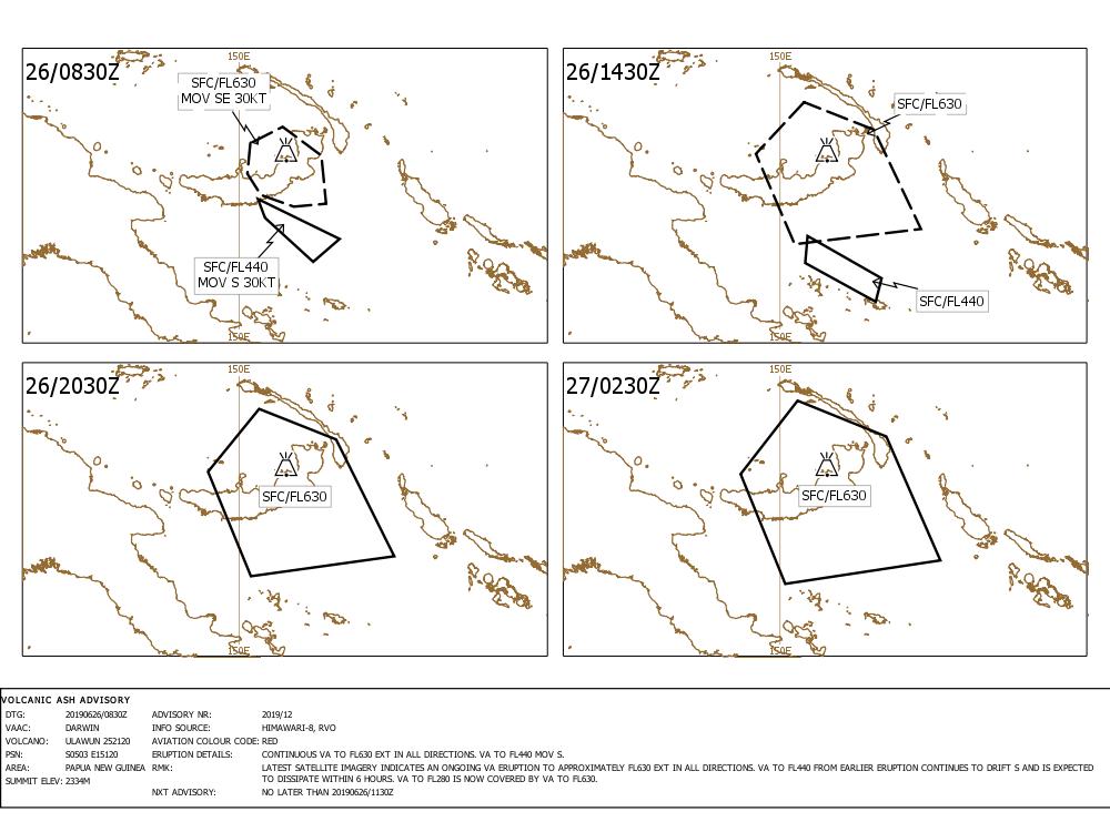 Ulawun - Volcanic Ash advisory 26.06.2019 - Doc. VAAC Darwin IDY65305