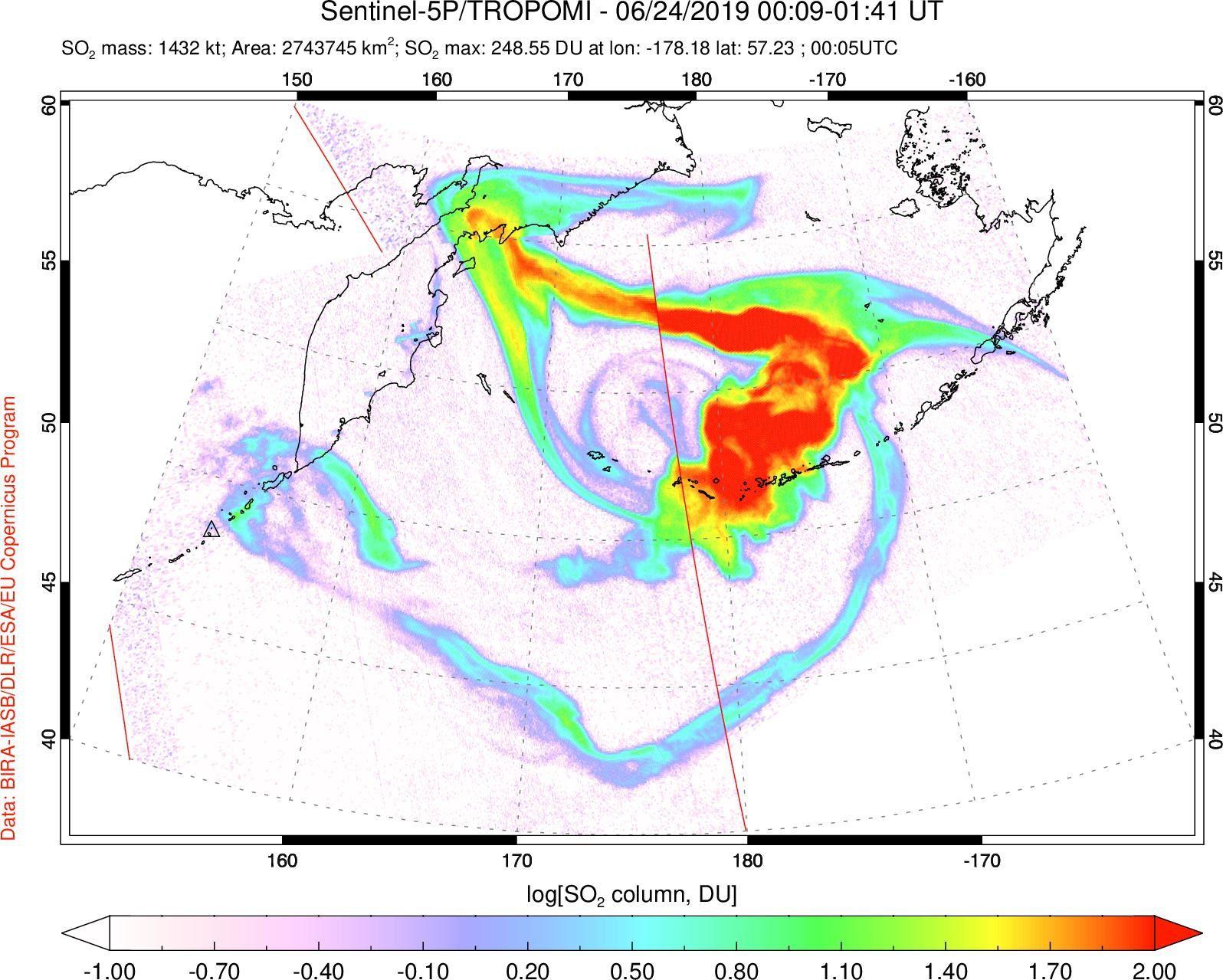 Raikoke - Cloud of Sulfur Dioxide - Doc. Sentinel 5P Tropomi 24.06.2019 / 0h09 - 01h41 GMT - via S.Carn