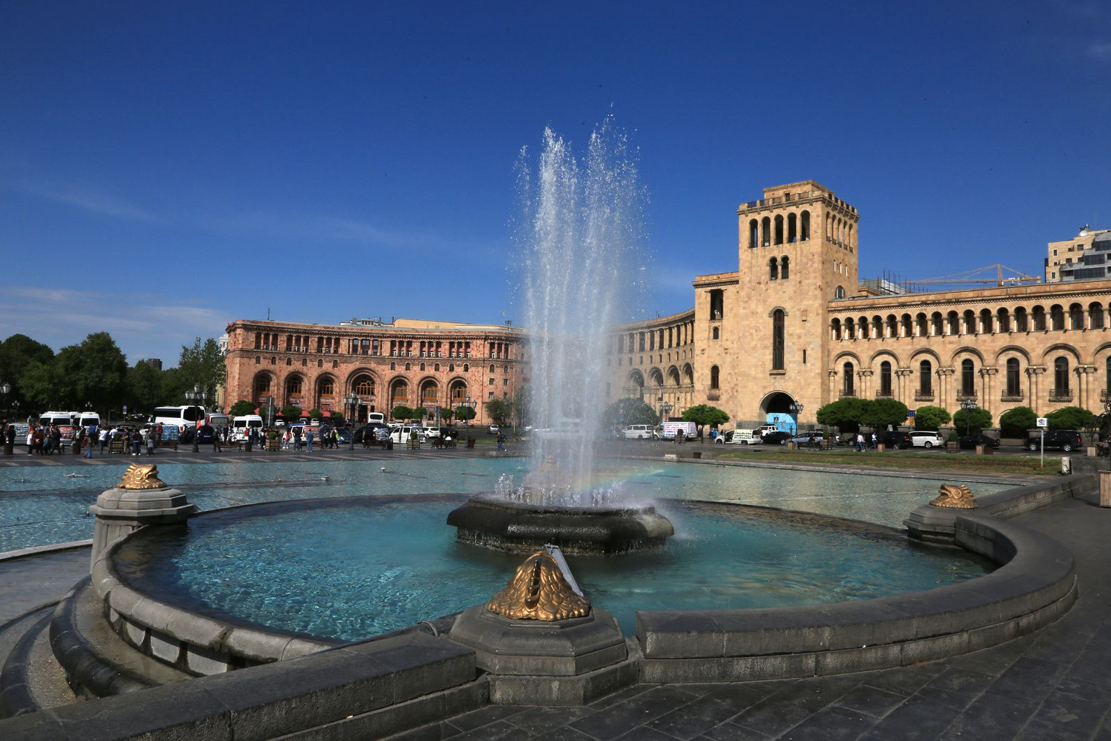 Yerevan - Republic Square, with the changing colors of the early morning - photo © Bernard Duyck 2019