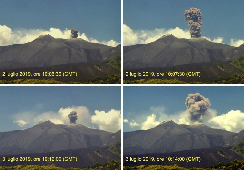 Etna NEC seen from the camera of Monte Cagliato: the first two photos show the explosion of July 2, the last two those of July 3, 2019. - INGVvulcani photos - one click to enlarge