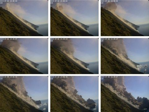 Stromboli - The sequence of the collapse of part of the platform on 03.07.2019 - Doc. telecamera visibile of Punta Labronzo - LGS