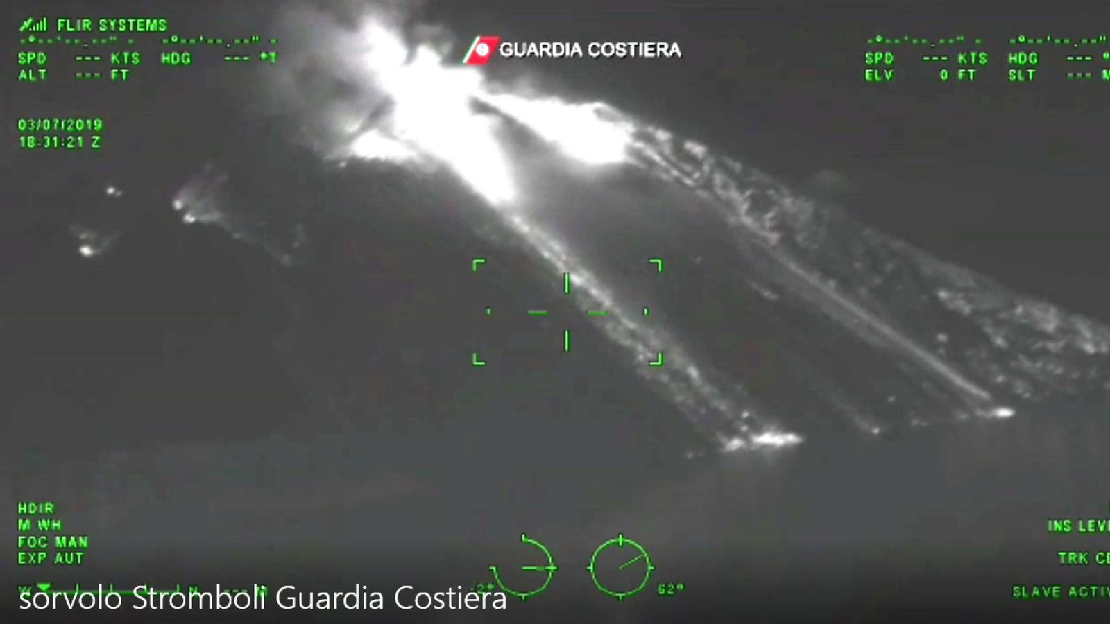 Stromboli - IR photo 03.04.2019 by the Guardia Costiera / skynews-italy