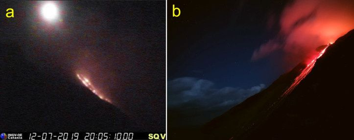 Stromboli - a) overflow in the area of the northern crater on the evening of 12 July 2019. Image recorded by the INGV-OE visual surveillance camera at 400 m altitude, on the north side of the Sciara del Fuoco - b) The lava overflows from the center-south, seen from Punta Corvo, on the night of July 12 to 13, 2019. - Photo by Francesco Ciancitto (INGV-OE).