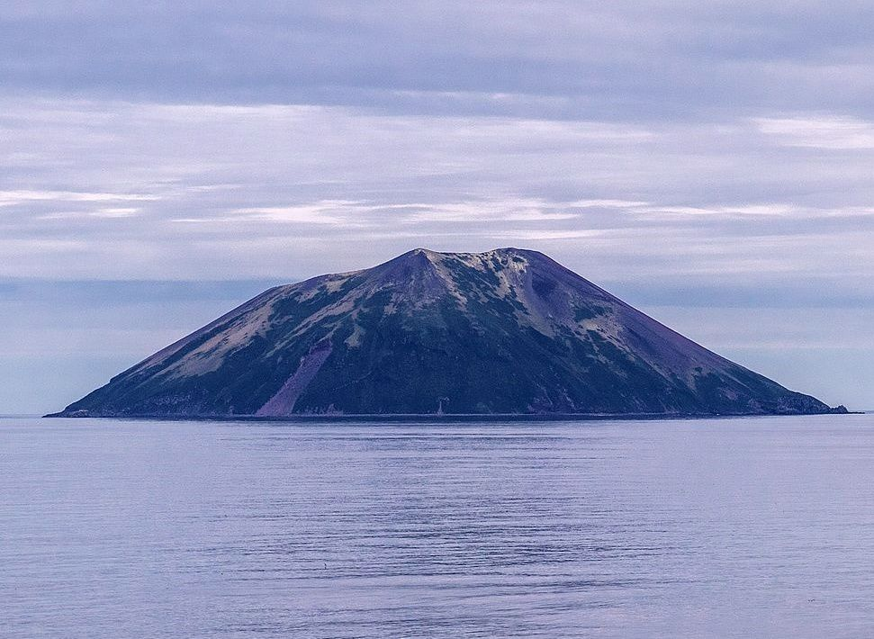Raikoke, before the June eruption, view of Golovnin Strait - Doc. Wiki