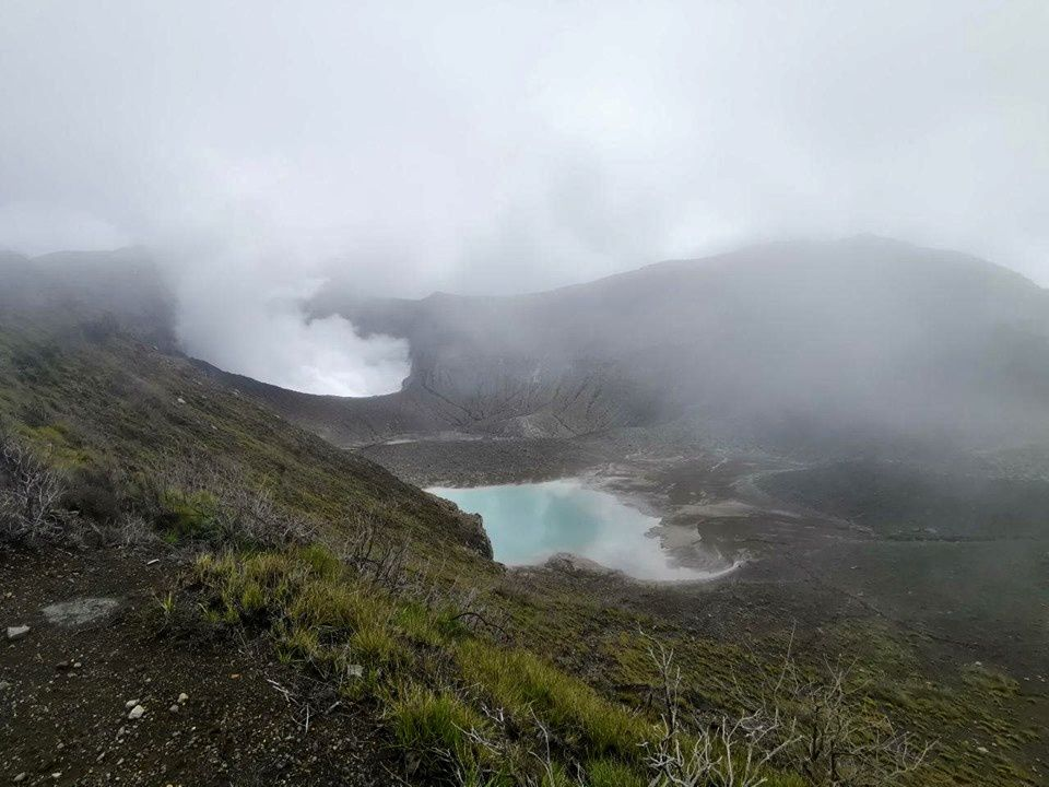 Turrialba - presence of 2 summit lakes and degassing - photo RSN 08.07.2019
