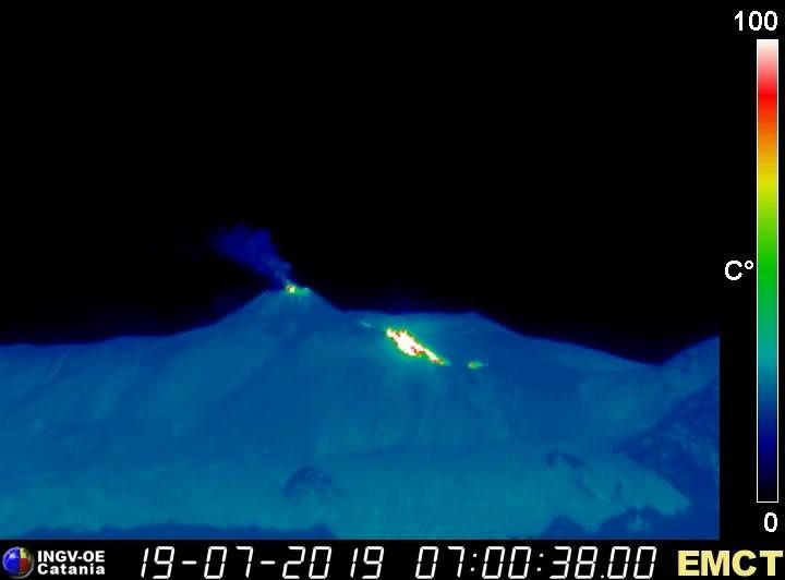 Etna NSEC - thermal camera at Monte Cagliato 19.07.2019 at 07:00 UTC, showing the active lava flow and mild Strombolian activity at the summit of the NSEC. - INGV