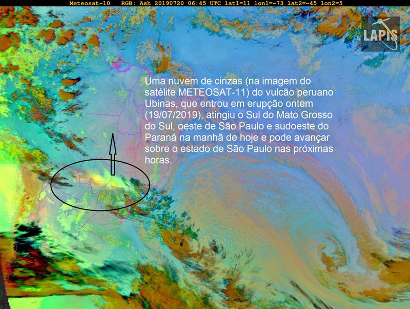 Ubinas - les cendres sur le Mato Grosso / Brésil - image Meteosat-10  du 20.07.2019 / 6h45 UTC  via LAPIS