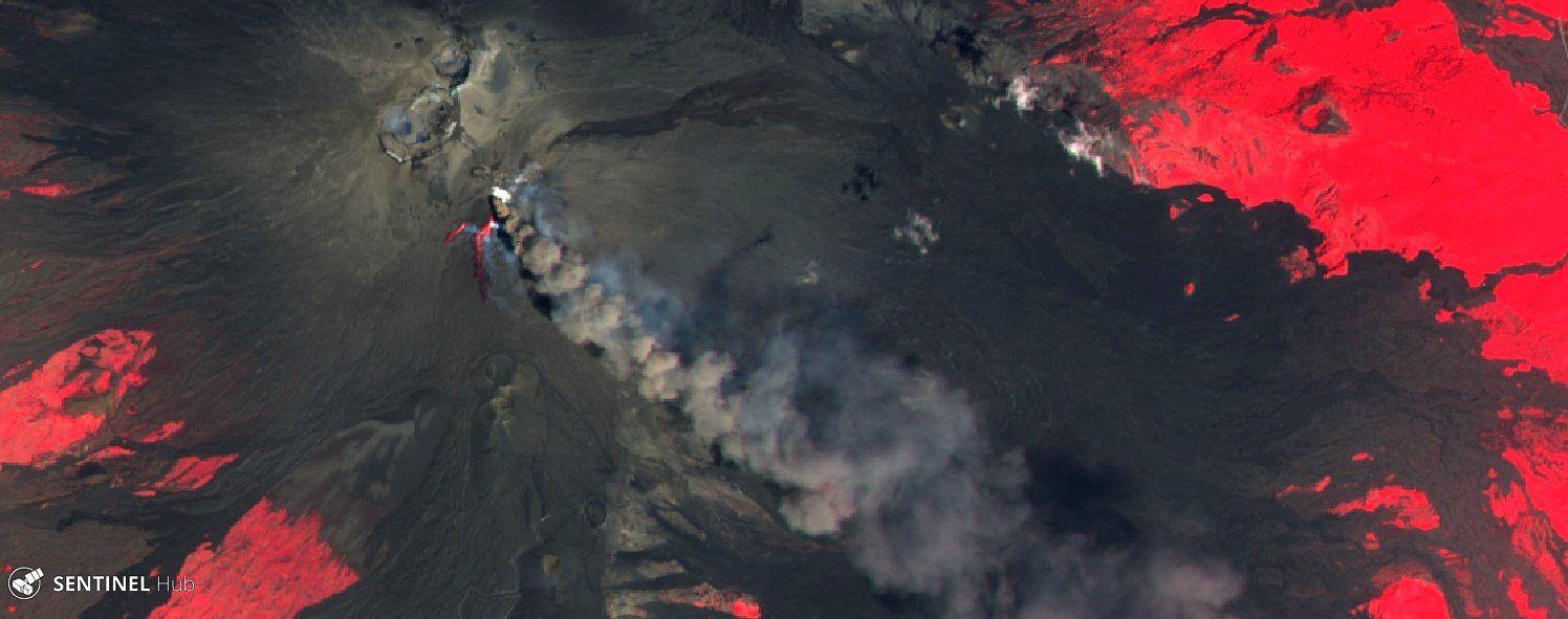 Etna - image Sentinel-2 L1C image IR bands 8,4,3 du 27.07.2019 - un clic pour agrandir