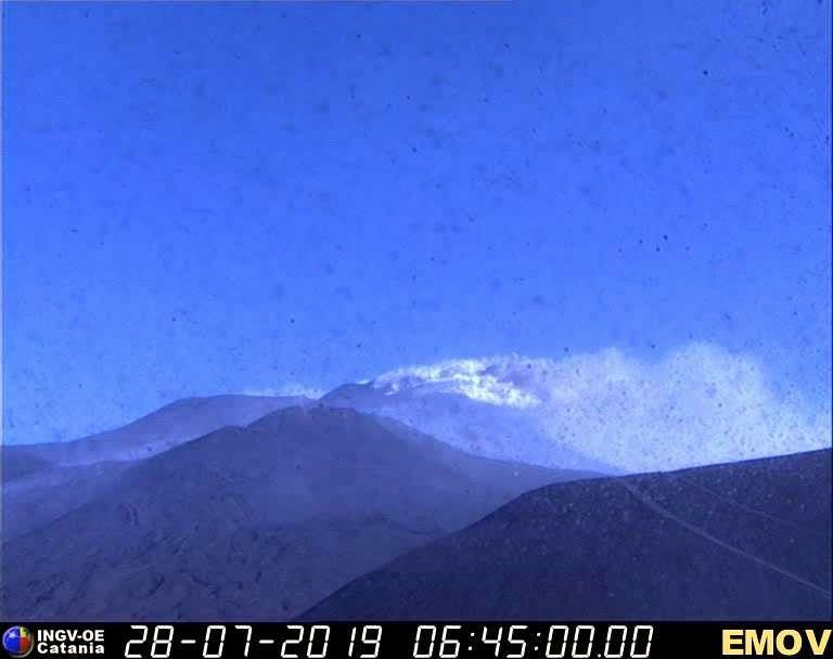 Etna NSEC - thermal images and visible Montagnola the 28.07.2019 / 6:45 - Doc. INGV EO