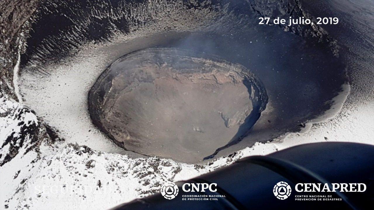 Popocatépetl - 27.07.2019 - disparition du dôme #83 et émission de cendres - photos Cenapred / CNPC