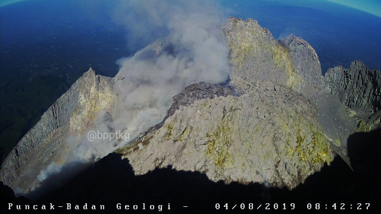Merapi - the dome 04.08.2019 / 8h42 - photo BPPTKG