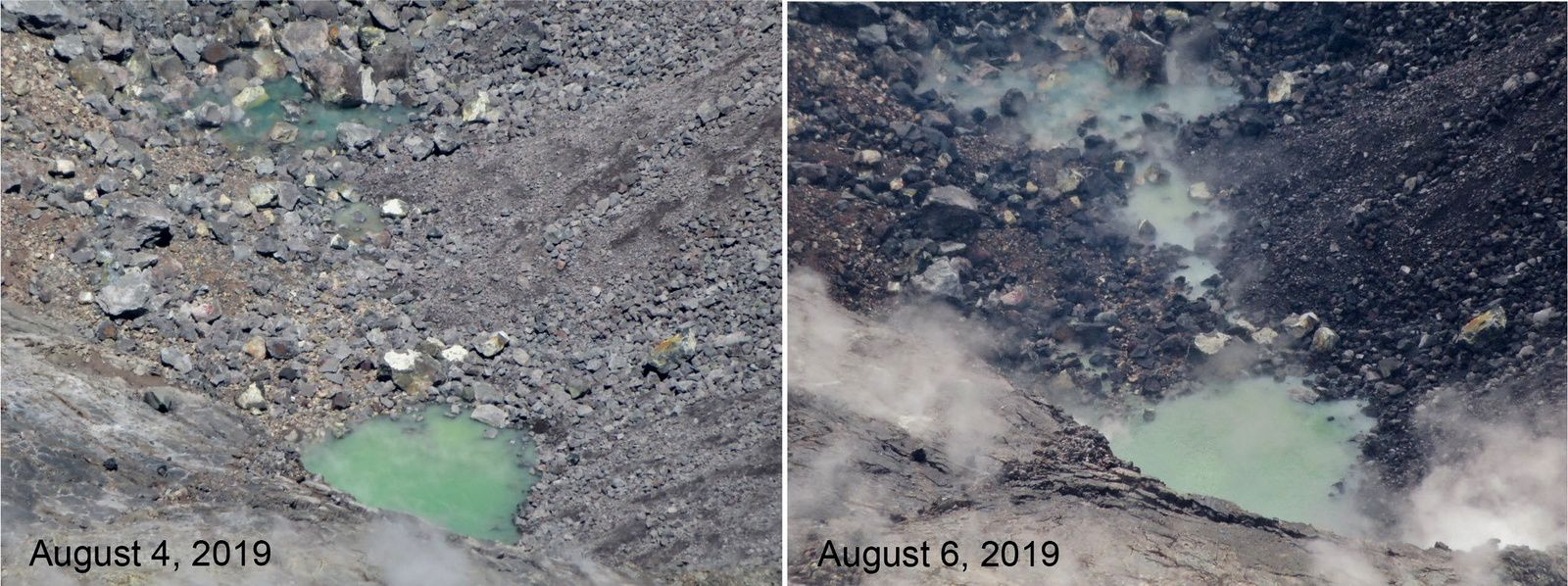 Kilauea - crater of Halema'uma'u- the growth of the pond between August 4 and 6, 2019 suggests a future crater lake formation - doc. Hawaii NPS