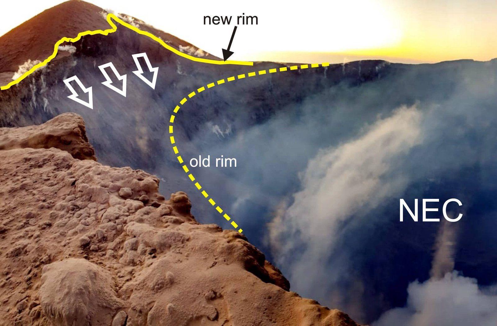 Etna - effondrement d'une partie de la paroi du cratère NE - photo M.Mammino via INGVvulcani