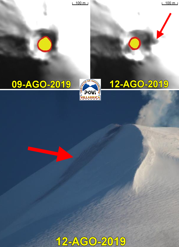 Villarica - evolution of the crater rim and the diameter of the lava lake between 9th and 12th August 2019 (photos from the top / Sentinel Copernicus) - traces of the collapse (bottom photo, red arrow) - Doc.POVI