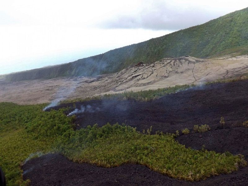 Piton de La Fournaise - 13.08.2019 - the eruptive site near the rampart of Tremblet - photo OVPF