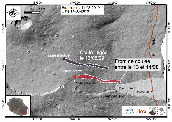 Piton de La Fournaise - Location of the eruptive fissures that opened on the 11/08/2019 and the approximate contours of associated lava flows. (© OVPF-IPGP / OPGC-LMV 14.08.2019).