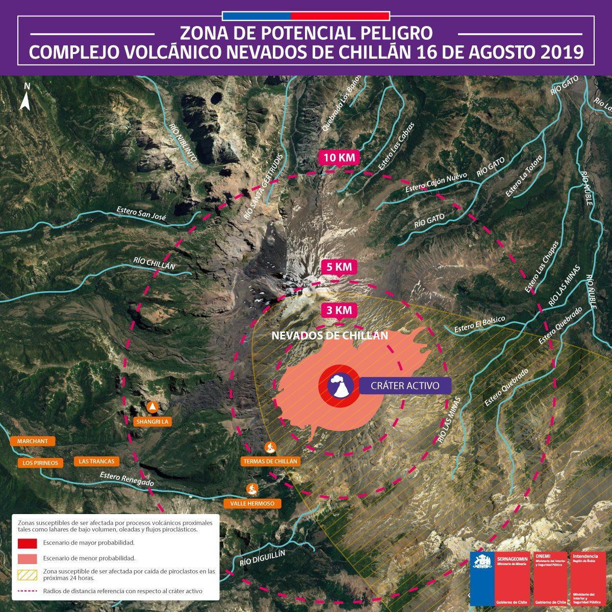 Nevados de Chillan - carte des risques potentiels , revue su 16.08.2019 - Doc. Onemi Chile