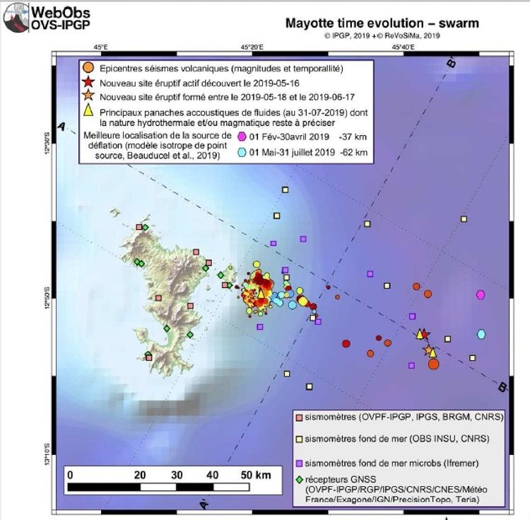Mayotte - Map with new eruptive sites - Doc. IPGP / ReVoSiMa 27.08.2019