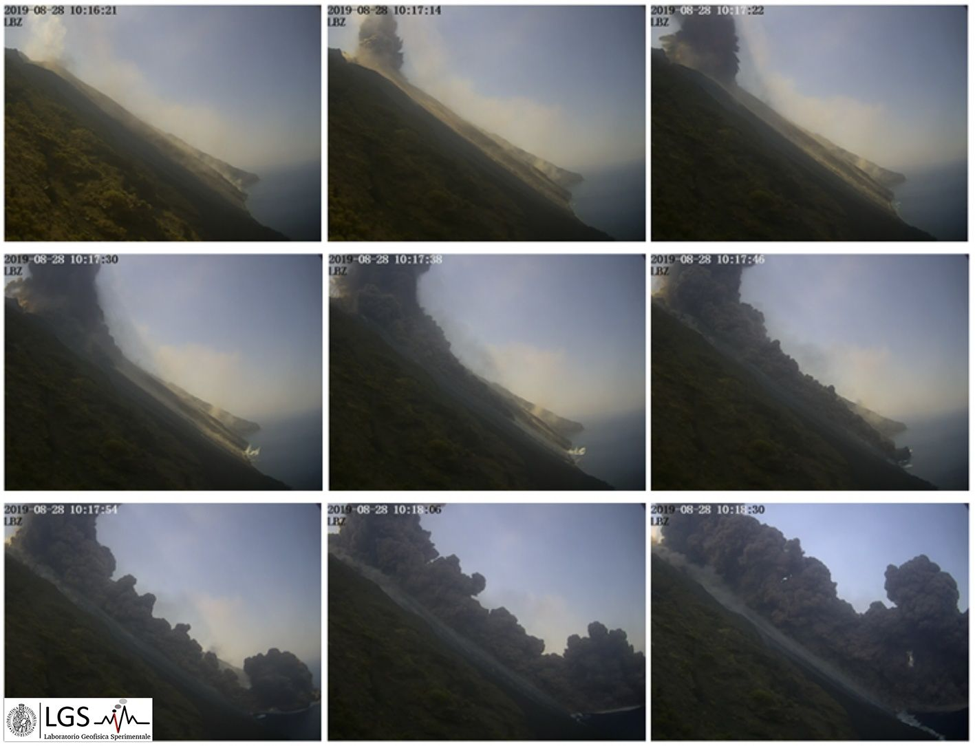 Stromboli - Footage images / time of the pyroclastic flow of 28.08.2019 in the Sciara del Fuoco ds la sciara - Images of the visible camera of Punta Labronzo LBZ - LGS / Laboratorio di Geofisica Sperimentale dell'Università di Firenze - Dipartimento di Scienze della Terra - one click to enlarge