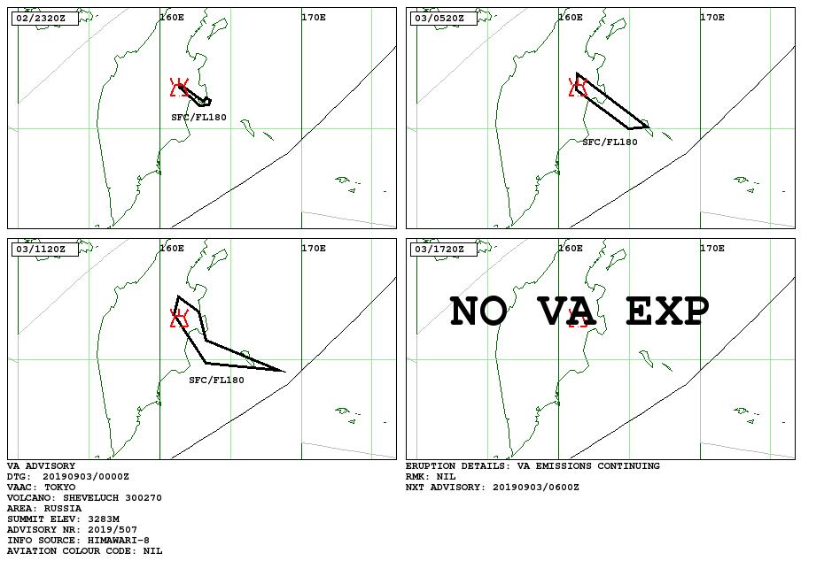 Sheveluch - volcanic ash advisory 02-03.09.2019 - Doc. VAAC Tokyo