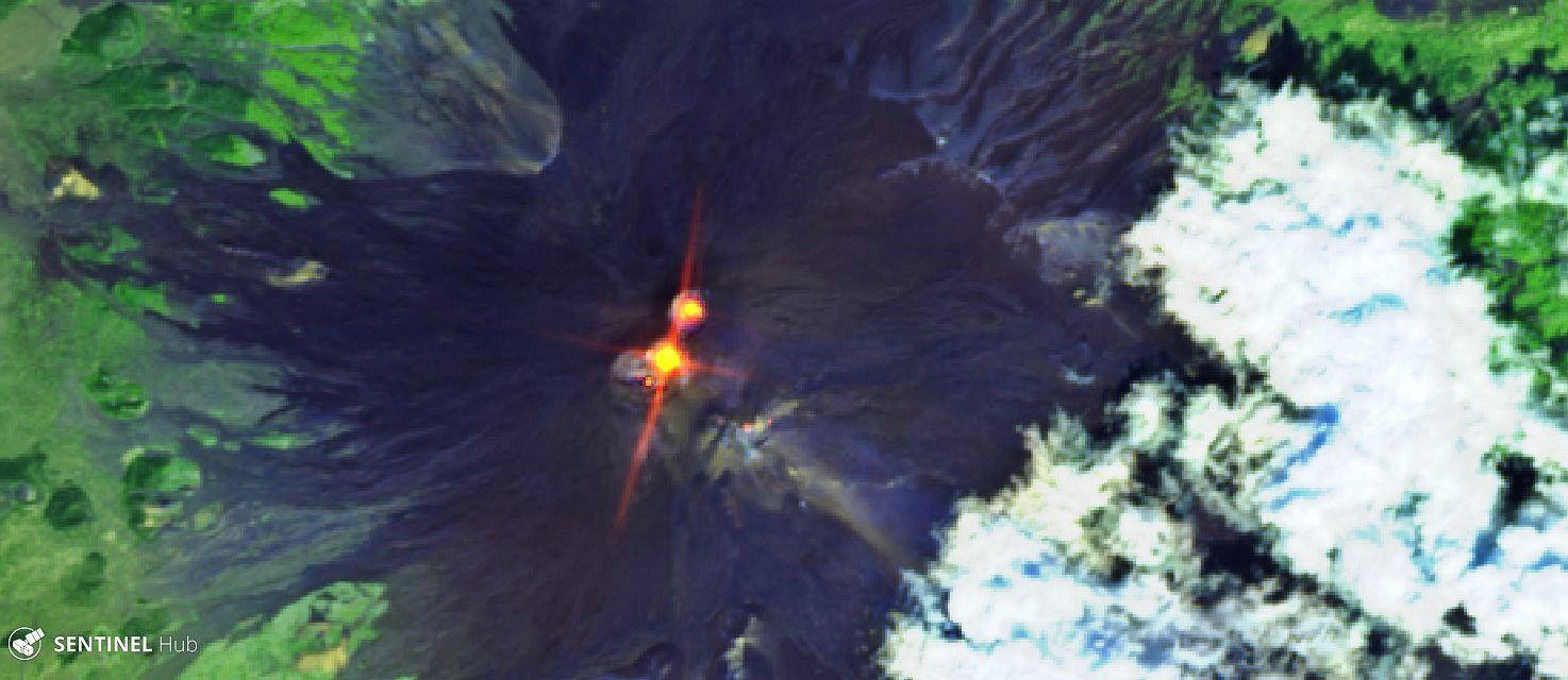 Etna - activité le 12.09.2019 au NEC et à la Voragine - Sentinel-2 L1C image bands 12,11,4