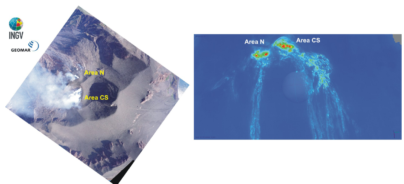 Stromboli - Left image obtained from the mosaic of four photos taken from drone made on September 11, 2019; thermal images on the right, obtained with drone at dawn on September 13, 2 - Doc. INGVvulcani- one click to enlarge