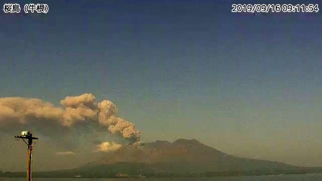 Sakurajima - m'éruption en cours le 16.09.2019 / 09h11