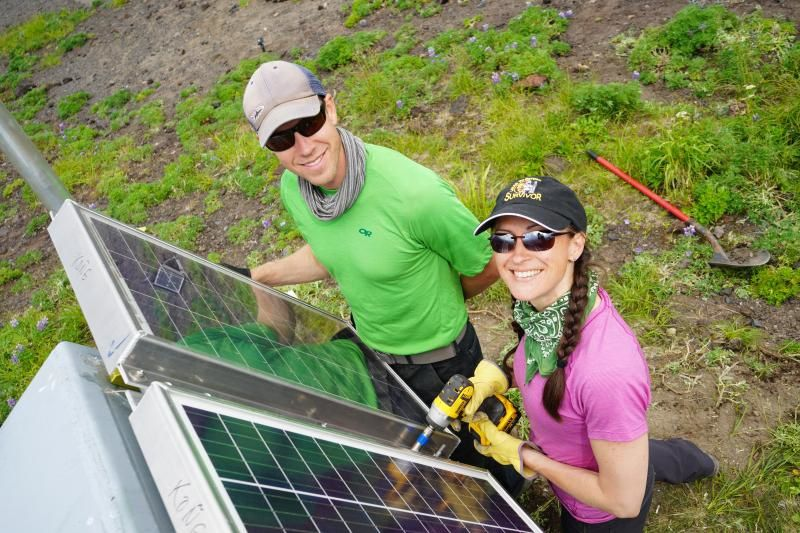 Installation of new solar panels in July 2019 at Korovin / Alaska volcano by John Lyons / USGS-AVO and Taryn Lopez / UAFGI-AVO