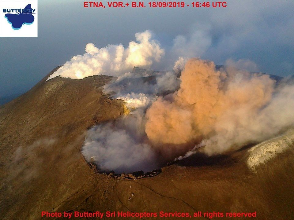 Etna- activity in Voragine and Bocca Nuova 18.09.2019 / 16:46 UTC - photo Jos.Nasi / Butterfly Helicopters