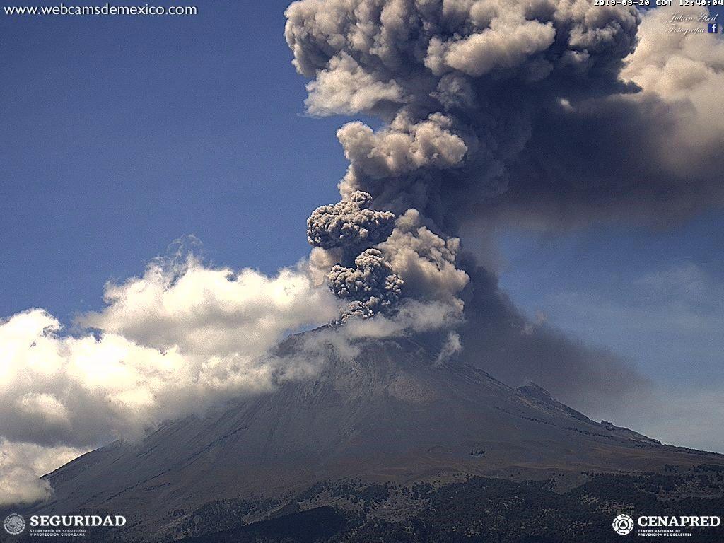 Popocatépetl - explosion du 20.09.2019 / 12h48   - WebcamsdeMexico