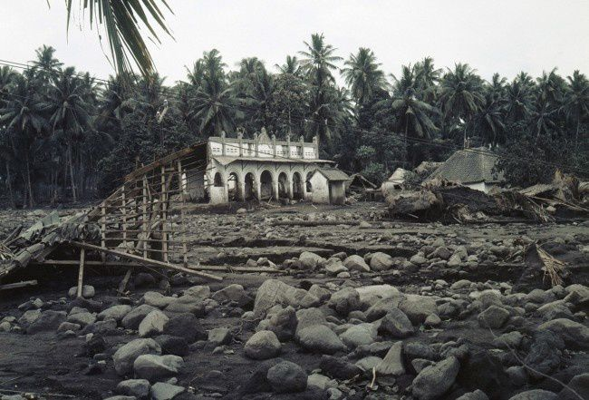 Eruption of Agung in 1963 - destruction in a village surrounding the volcano - photo 26.03.1963 AP