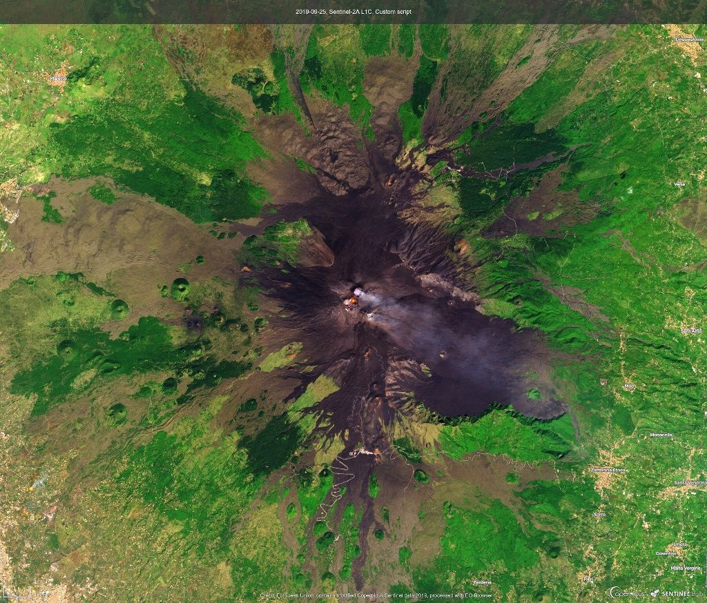 Etna - thermal anomalies in this image Sentinel2 of 25.09.2019 - Doc. Copernicus - a click to enlarge