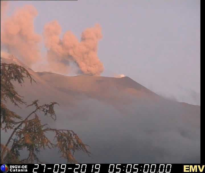 Etna - ash emission by the NEC on 27.09.2019  - webcam INGV Catania