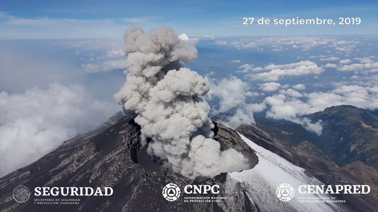 Popocatépetl - activity observed during the reconnaissance flight on 27.09.2019 - Photo Cenapred / CNPC / Seguridad