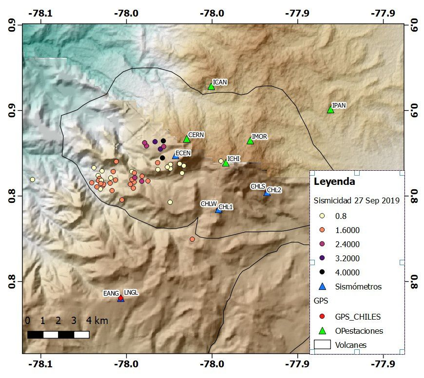 Cerro Negro - localization of epicentres of earthquakes of 27.09.2019 - Doc. IGEPN