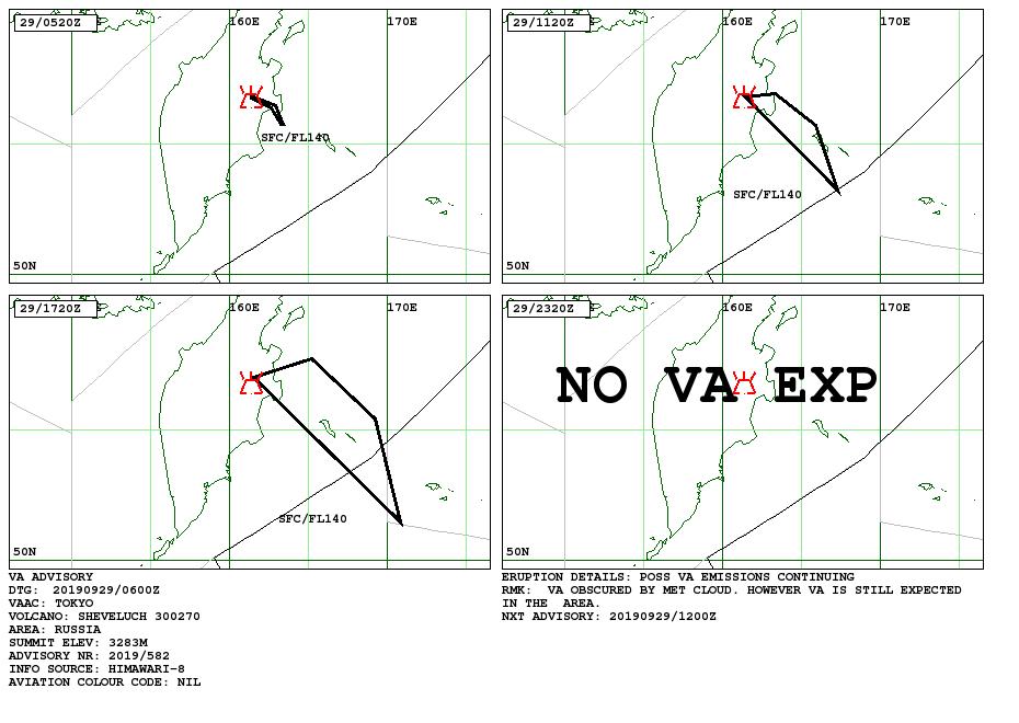 Sheveluch  - Volcanic ash advisory du 29.09.2019 - Doc. VAAC Tokyo