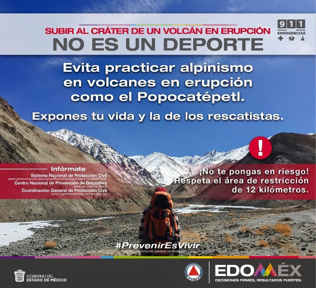 Popocatépetl - reminder of safety instructions by Edomex