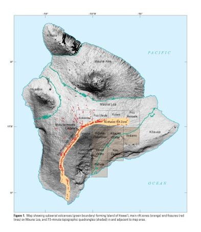 Geologic map of the central-southeast flank of Mauna Loa volcano - encart - Doc. USGS