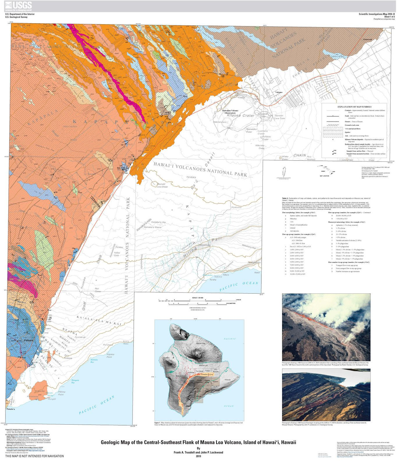 Geologic map of the central-southeast flank of Mauna Loa volcano, Island of Hawai'i, Hawaii: U.S. Geological Survey Scientific Investigations