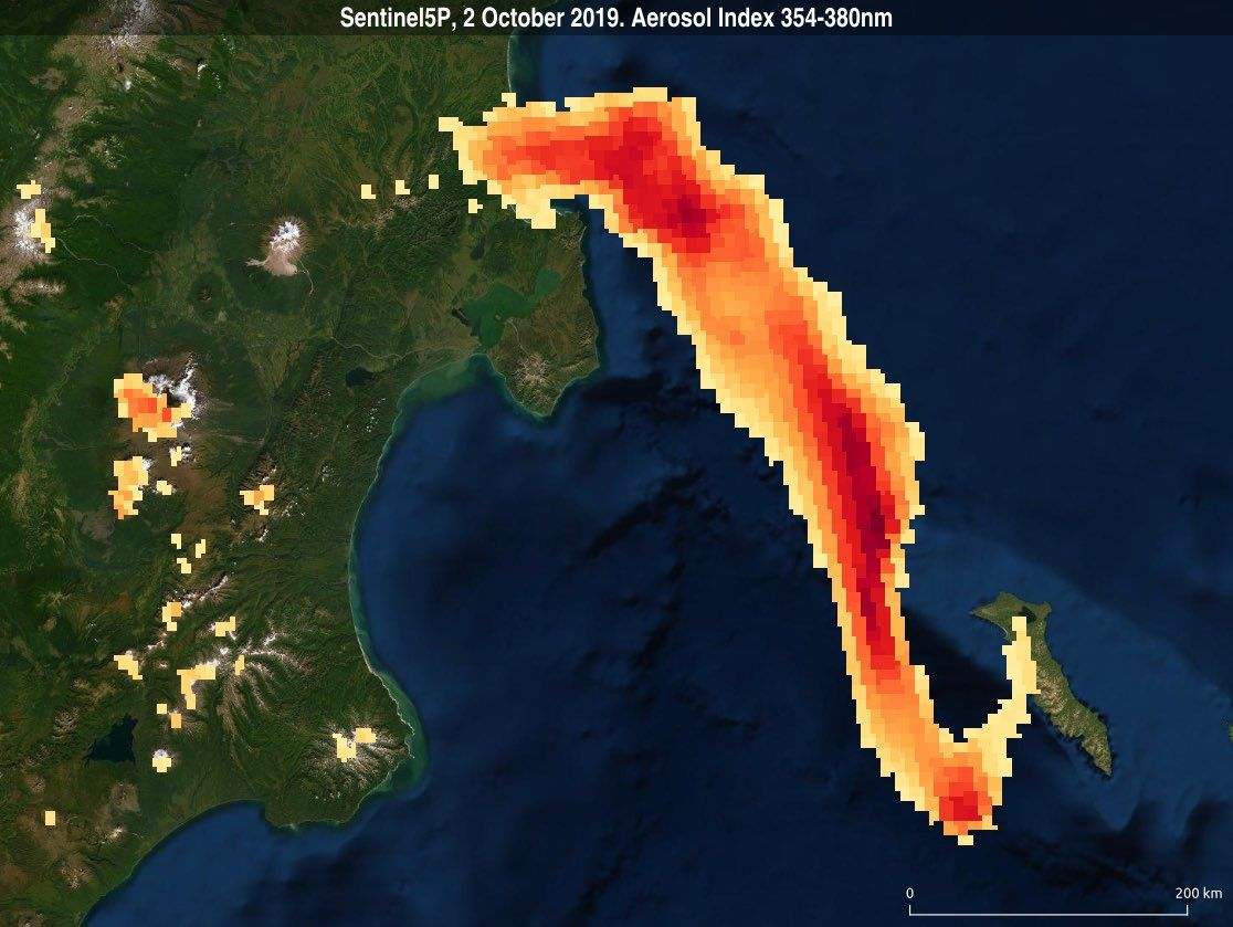 Sheveluch - aerosol index 354-380nm measured by Sentinel 5P / Copernicus on 02.10.2019