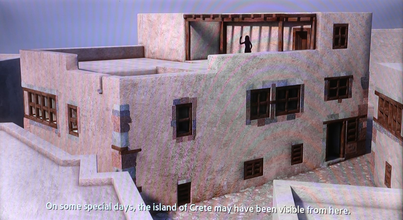 Santorini - archaeological site of Akrotiri - digital reconstruction of a two-storey house and a decorated interior, with doors and cupboards, and paved with volcanic stone slabs - photo © Bernard Duyck 09.2019 - one click to enlarge