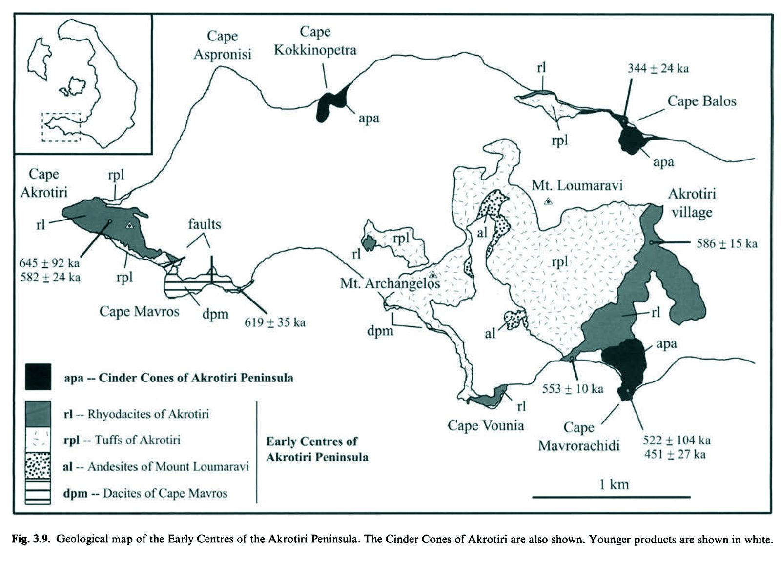 Santorini - Geological map of the first centers of the Akrotiri peninsula, with cinder cones in black, the youngest products are in white - Doc. Druitt & al 1999