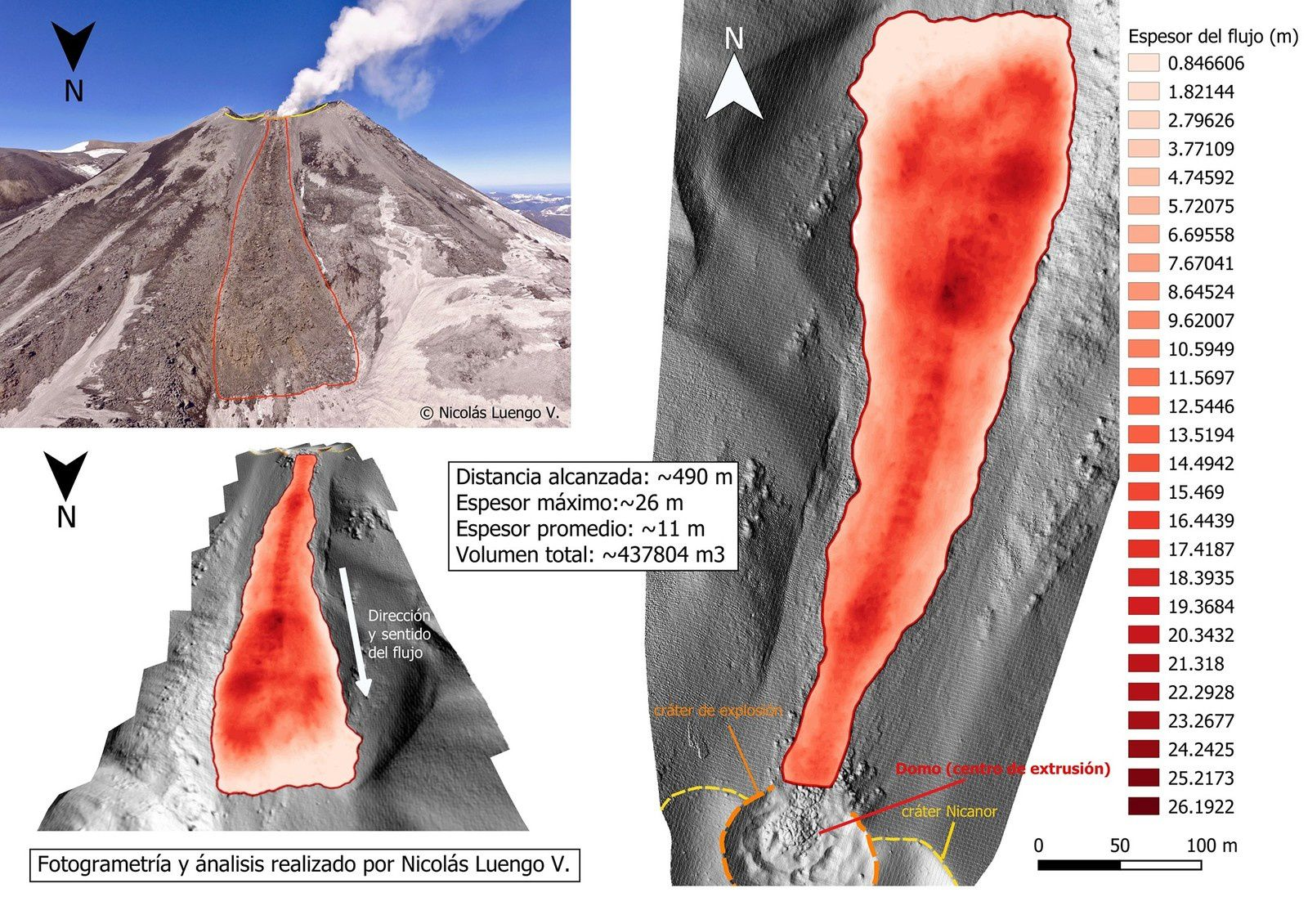 Nevados de Chillan - analysis of the lava flow - Doc. 11.10.2019 / Nicolas Luengo V. via Volcanologia in Chile