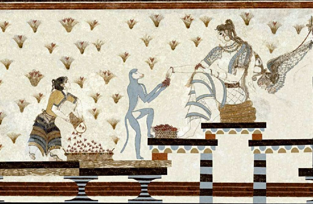 Akrotiri - Xeste 3 - fresco of the Mistress of animals - Doc. Marinatos