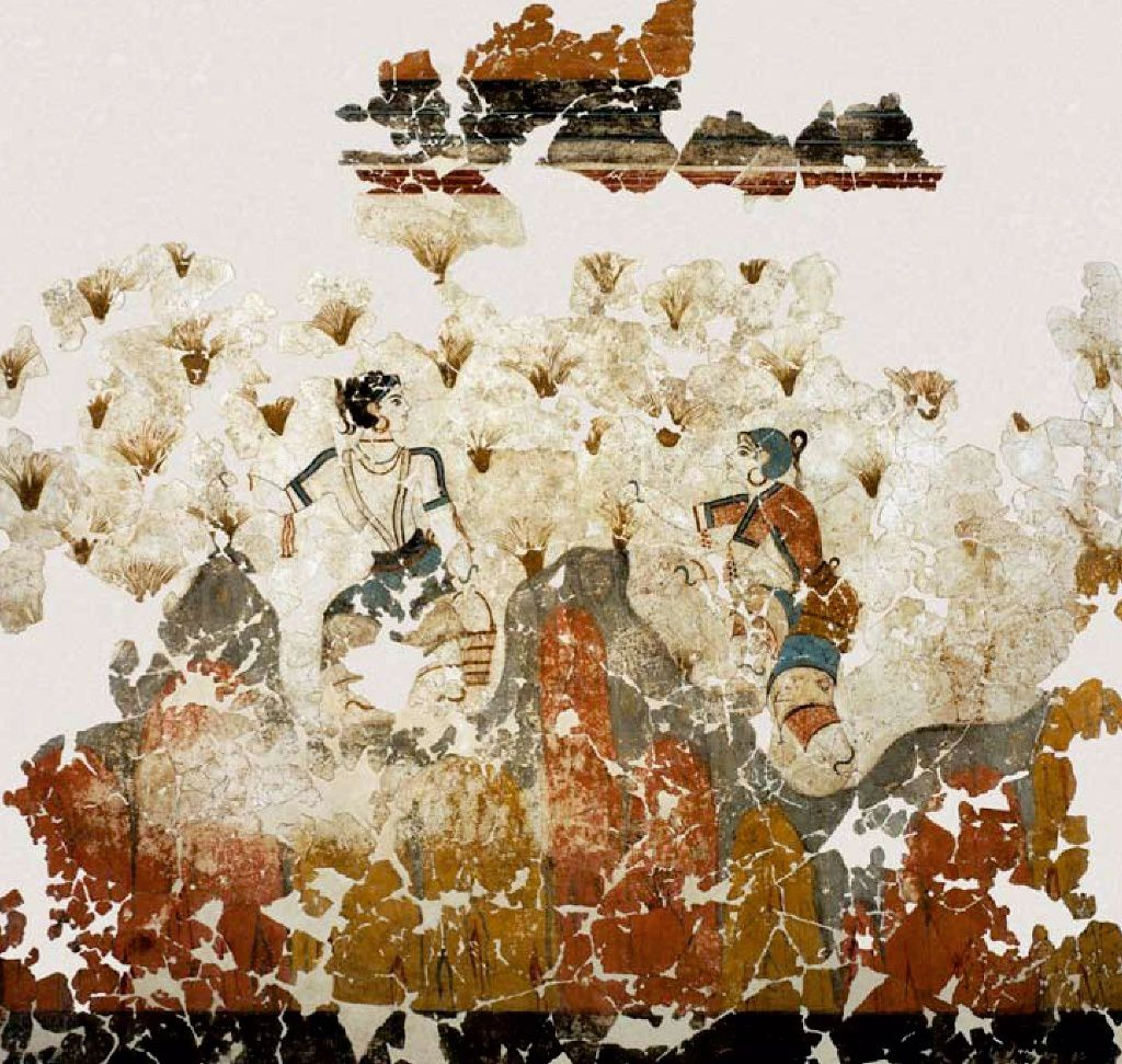 Akrotiri - Xeste 3 - fresco of saffron pickers - Doc. Marinatos
