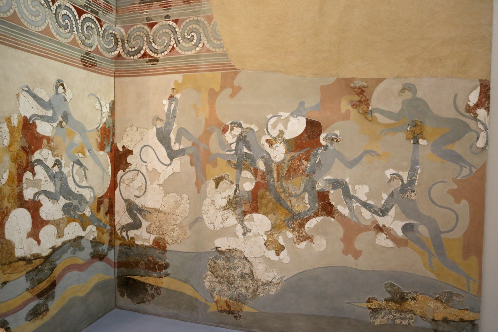 Akrotiri - fresco of the blue monkeys - Museum of Prehistory - photo © Bernard Duyck 09.2019