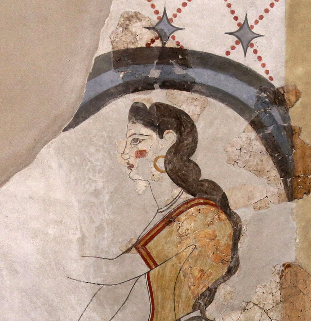 "Akrotiri - frescoes of the Maison des Dames - detail about the clothes of a young woman, ""the lady with Papyrus"" - Museum of prehistory - - photo © Bernard Duyck 09."