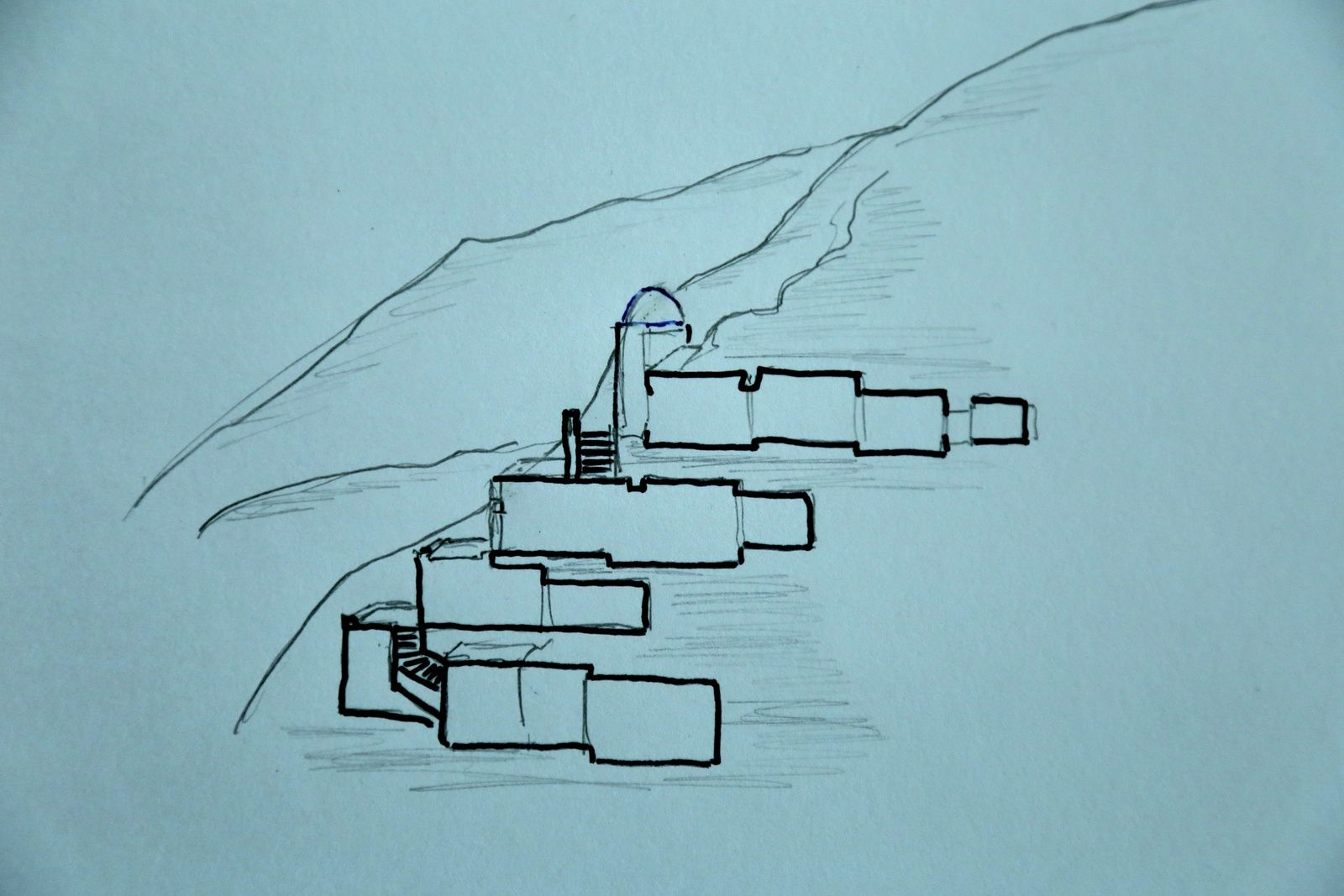 Santorini - the Yposkafas - cut in a wall of the caldera characterizing the troglodyte dwellings dug in volcanic materials - drawing © Bernard Duyck 09.2019