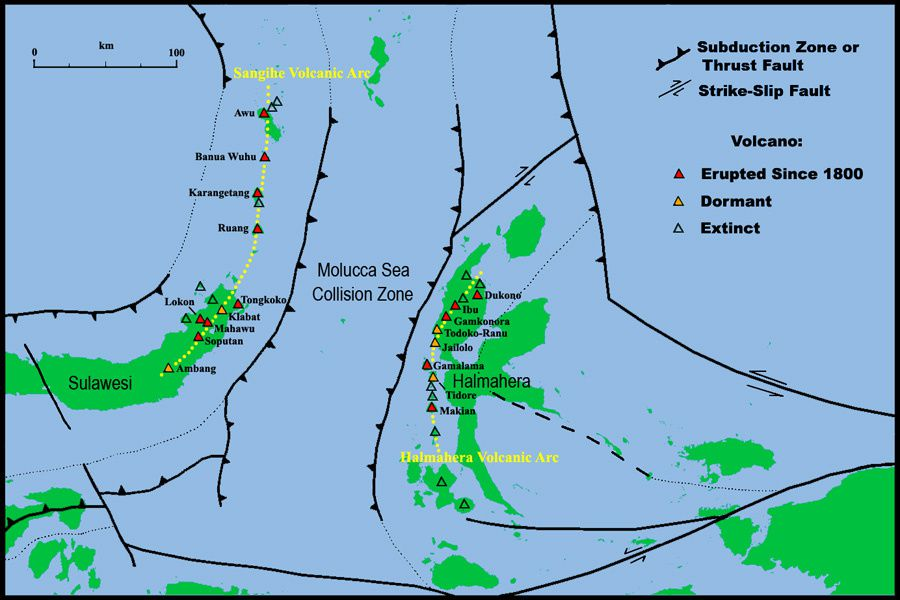 Map of Molucca Sea Region with Collision Zone and Volcanic Arcs indicated.  Based on data from Google Maps, MacPherson et al. 2003 (Geol. Soc. London, Special Publ. 219, p.207-220), Siahaan et al. 2005 (Proc. World Geol. Congress, 5pp). - via Photovolcanica